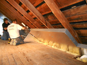 Insulating and sealing an attic with our attic insulation system