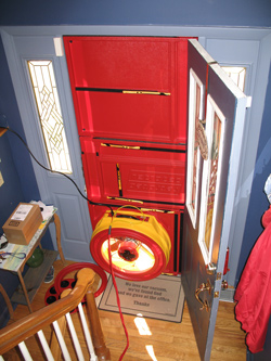 Blower door test for Lexington homes